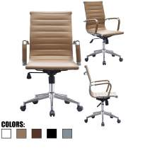 2xhome Mid Century Office Chair with Arms Wheels Modern Desk Chair Ergonomic Executive Chair Mid Back PU Leather Arm Rest Tilt Adjustable Height Swivel Task Computer Conference Room (Tan)