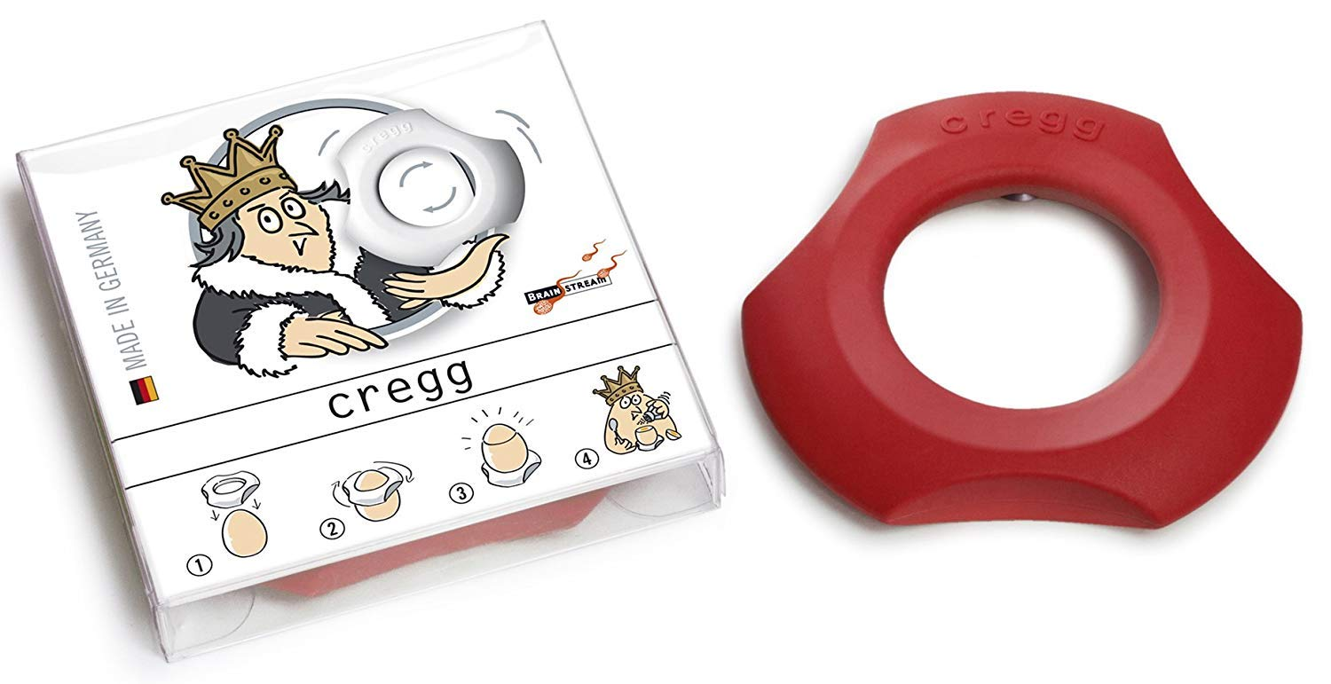 Brainstream Cregg 3-in-1 Topper, Cup and Napkin Ring The Gentle Way to Open Eggs, Red
