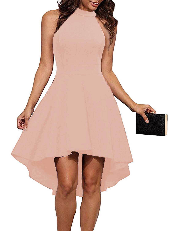 THANTH Womens Dresses Halter Neck Sleeveless Backless High Low Cocktail Skater Dress