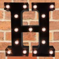 Pooqla Decorative LED Illuminated Letter Marquee Sign - Alphabet Marquee Letters with Lights for Wedding Birthday Party Christmas Night Light Lamp Home Bar Decoration H, Black