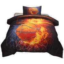 HTgroce 3D Basketball Comforter Quilt Set for Teen Boys Girls Twin Size(68''x86''),2PCS,1 Quilt+1 Pillow Sham