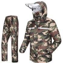 iCreek Rain Suit Jacket & Trouser Suit Raincoat Unisex Outdoor Waterproof Anti-storm (M, Army green camouflage)
