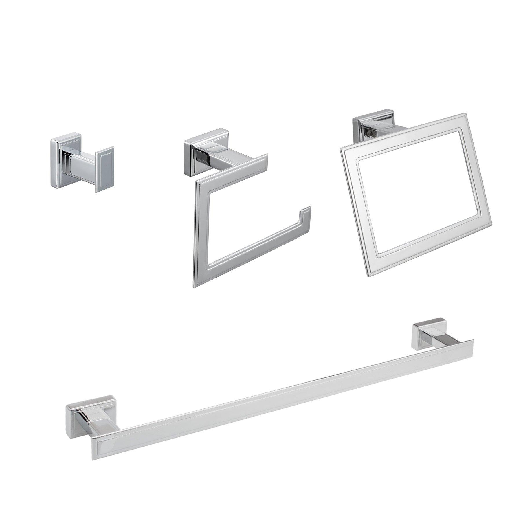 "MAYKKE Carraway 4-Piece Bathroom Essentials Hardware Accessory Set 18"" Towel Bar, Robe Towel Hook, Towel Ring, Toilet Paper Holder For Bath, Shower, Kitchen Polished Chrome, OYA1051491"