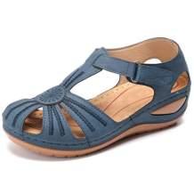 SaraIris Women's Soft Faux Leather Sandals Vintage Casual Flats Summer Beach Shoes Non-Slip Hollow Closed Toe Sandals