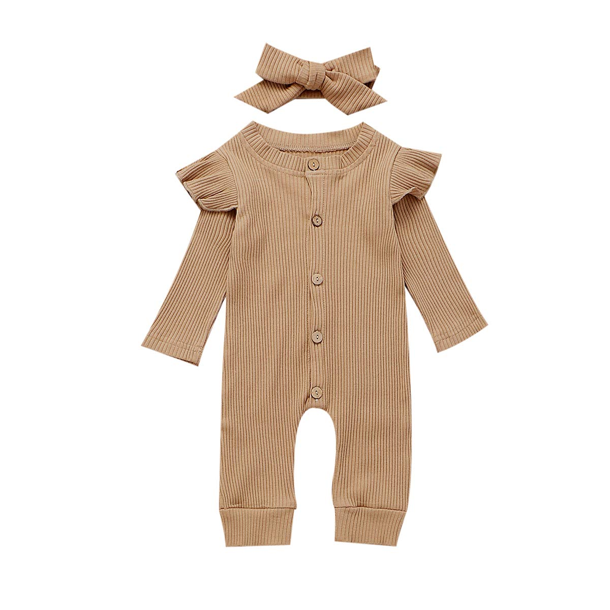 Fiomva Newborn Infant Baby Girl Ruffle Long Sleeve Romper One Piece Jumpsuit with Headband Fall Clothes Outfits