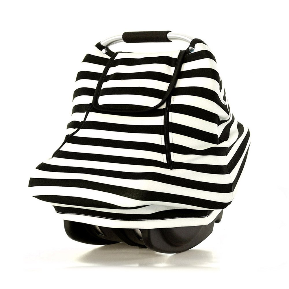Stretchy Baby Car Seat Covers for Boys Girls Infant Car Canopy Spring Autumn Winter,Snug Warm Breathable Windproof, Adjustable Peep Window,Universal Fit,Black White Stripe-Patented Design