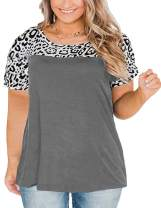 VISLILY Plus Size Tops for Women Short Sleeve Blouses Leopard Print Tunic Shirts