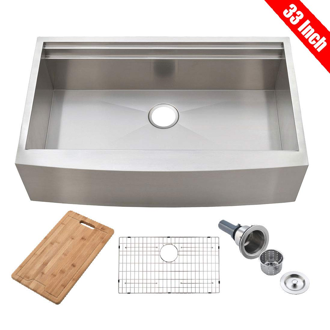 KINGO HOME 33-Inch 9 Inch 18 Gauge Single Bowl Handmade Stainless Steel Drop-In Farmhouse Apron-front Workstation Kitchen Sink, Kitchen Sink with Integrated Ledge and Accessories