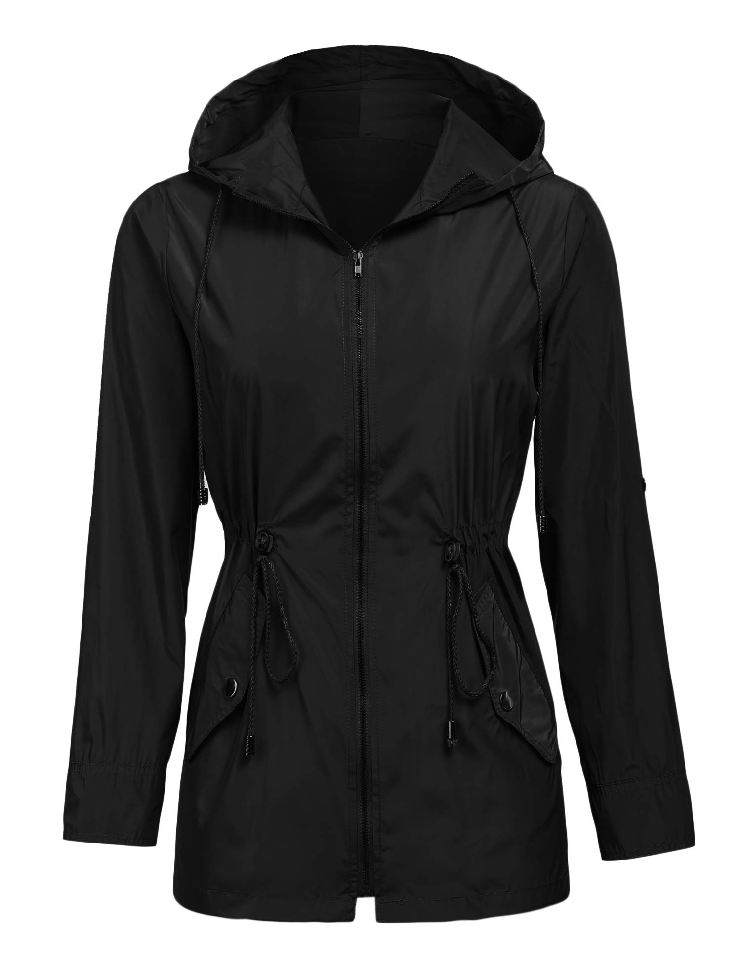 SUNAELIA Womans Long Sleeve Lightweight Windbreaker Outdoor Active Raincoat Jackets Hooded
