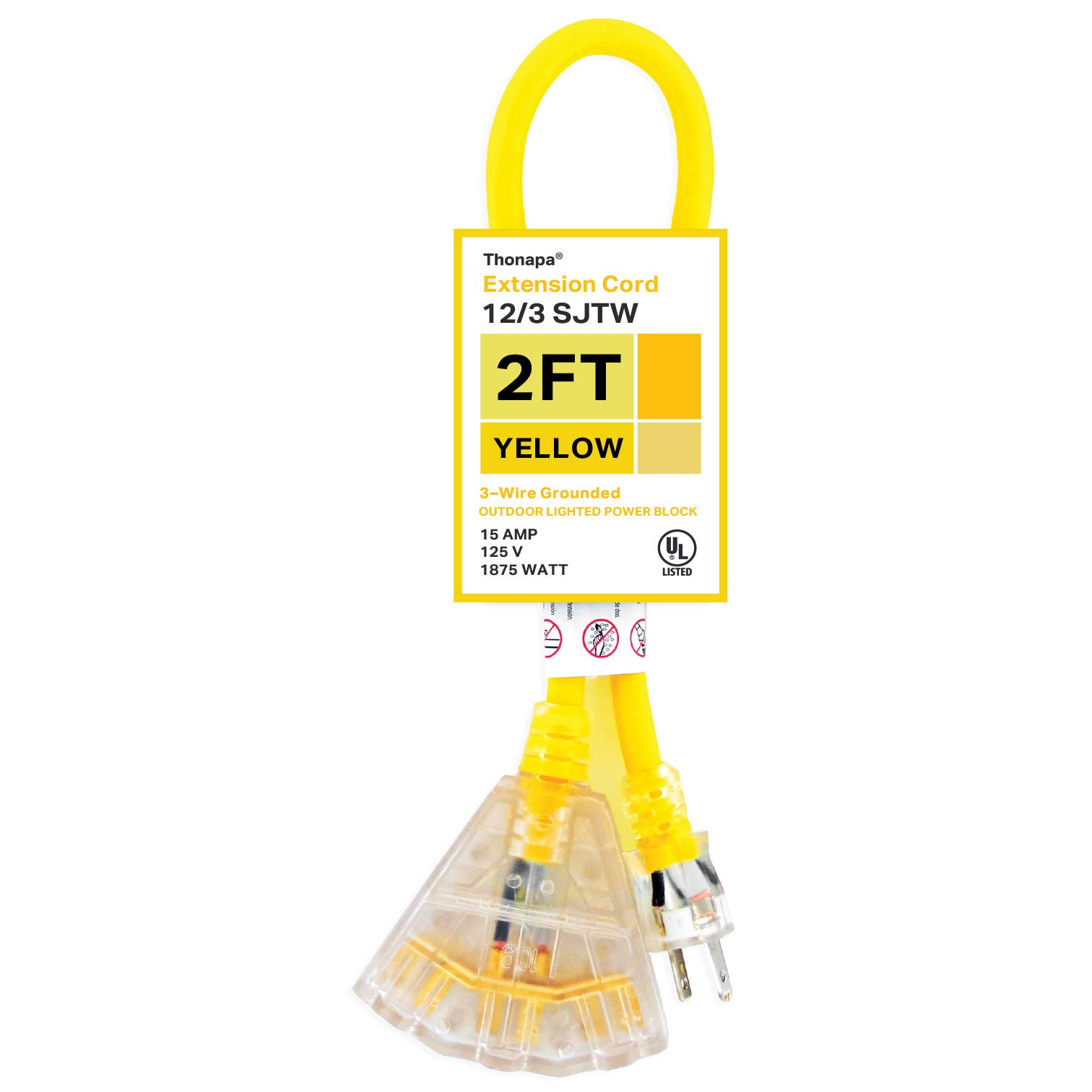 Thonapa 2Ft Outdoor Extension Cord - 12/3 Heavy Duty Yellow 3 Prong Extension Cable with 3 Electrical Power Outlets - Great for Garden & Major Appliances