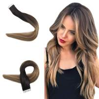 Easyouth Tape in Hair Extension Real Human Hair Extensions Balayage Color Off Black Fading to Ash Brown Highlight with 22 Blonde Glue in Hair Extensions Straight Hair 40g/pack for Women