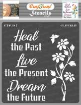 CrafTreat Quote Stencils for Painting on Wood, Canvas, Paper, Fabric, Floor, Wall and Tile - Heal - 6x6 Inches - Reusable DIY Art and Craft Stencils for Home Decor - Inspiring Quotes