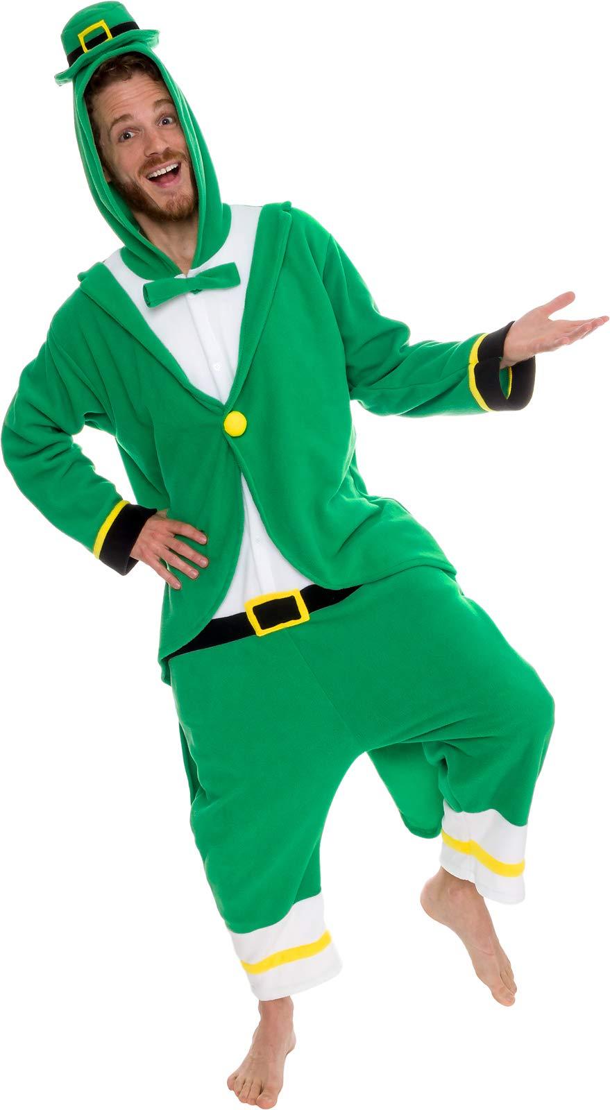 Silver Lilly Leprechaun Unisex Adult Pajamas - Plush One Piece Cosplay Holiday Costume