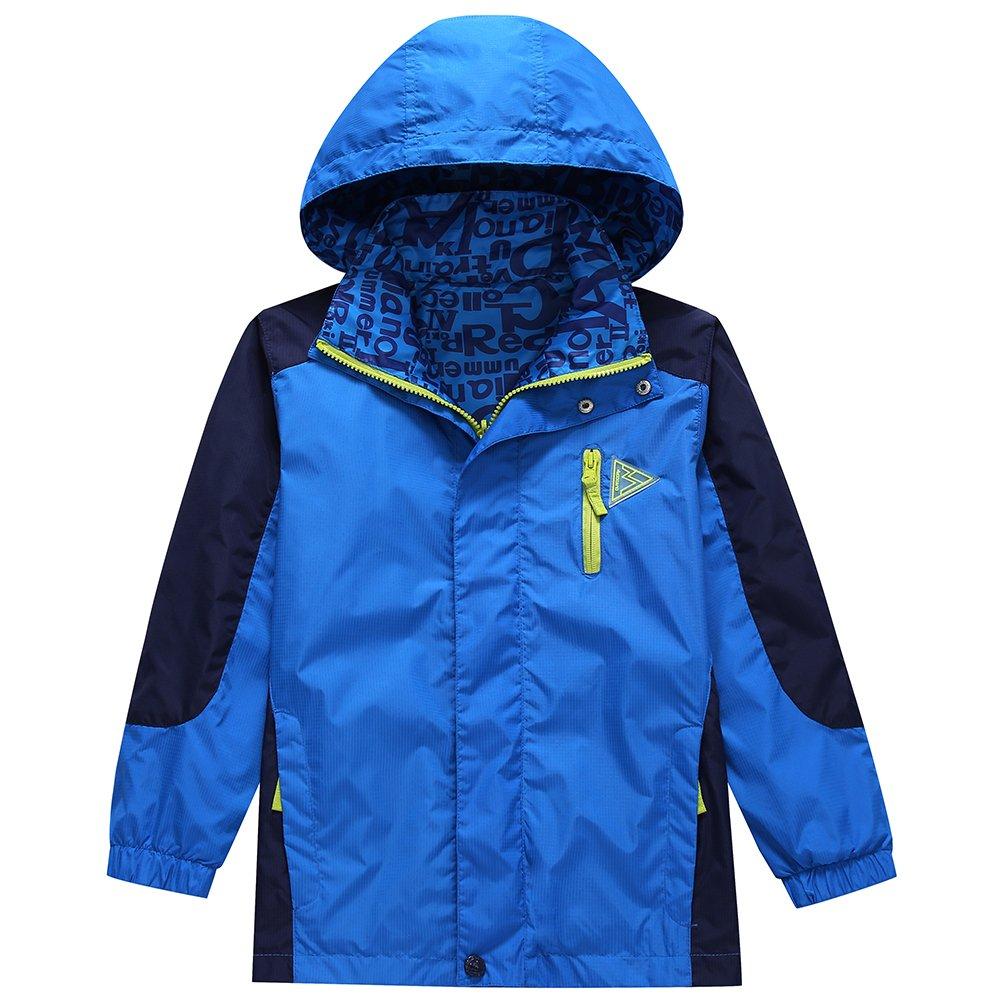 KID1234 Boys' Rain Jacket Lightweight Quick Dry Waterproof Hooded Raincoat