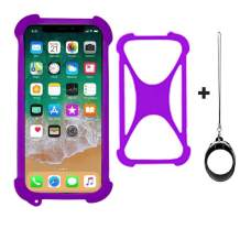 """Universal Smart Phone Bumper Case for Doro Liberto 825 824 824C 5"""" 8080 Elastic Soft Silicone Cover for DOOGEE X90 X90L Y9 Plus NUU Mobile A4L Phones Size 4'' to 6.5'' inch Case (Purple)"""