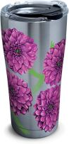 Tervis 1277983 Painted Dahlias Stainless Steel Tumbler with Clear and Black Hammer Lid 20oz, Silver