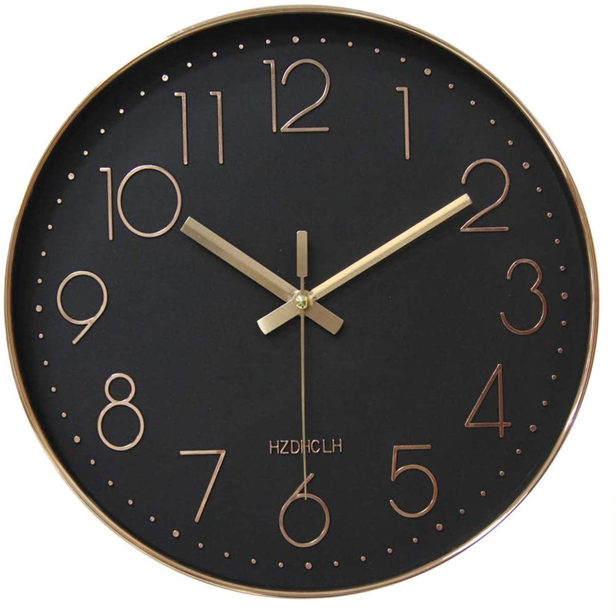 HZDHCLH Wall Clock 12 inch Silent Non Ticking Modern Wall Clocks Battery Operated Clocks for Kitchen Bedroom Living Room Decor(Black Rose Gold)
