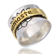 Energy Stone The Namaste Sterling Silver Meditation Spinner Ring with Brass Spinner (Style US62)