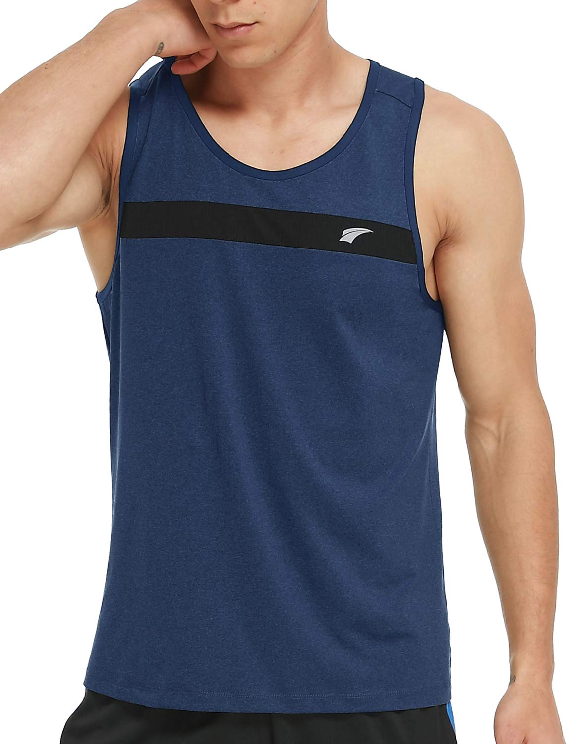 EZRUN Men's Tank Tops Quick Dry Athletic Training Workout Shirts for Gym Fitness Bodybuilding Running Jogging Training