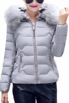 YMING Women's Winter Down Cotton Coat Quilted Parka Jacket with Faux Fur Hood