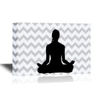 wall26 - Canvas Wall Art - Silhouette of Woman Practicing Yoga on Chevron Background - Gallery Wrap Modern Home Decor | Ready to Hang - 32x48 inches
