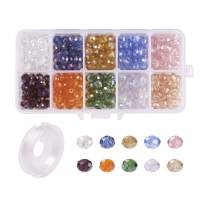 """Kissitty About 300pcs/box 10 Color Electroplate Glass Beads Set 8x5mm 0.3x0.2"""" for Jewelry Craft Making with Container and Beading Elastic Wire"""
