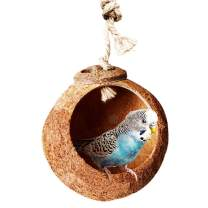 SunGrow 1 Hole Nesting Home and Bird Feeder, 5.1 Inches Diameter with 2.3 Inches Opening, Raw Coconut Husk, Encourage Foot and Beak Exercise, Sustainable Materials, Durable Habitat