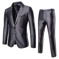 AOWOFS Men's 2 Piece Suit Slim Fit Lapel Single-Breasted Fashion Wedding Two Buckle Dress Suit