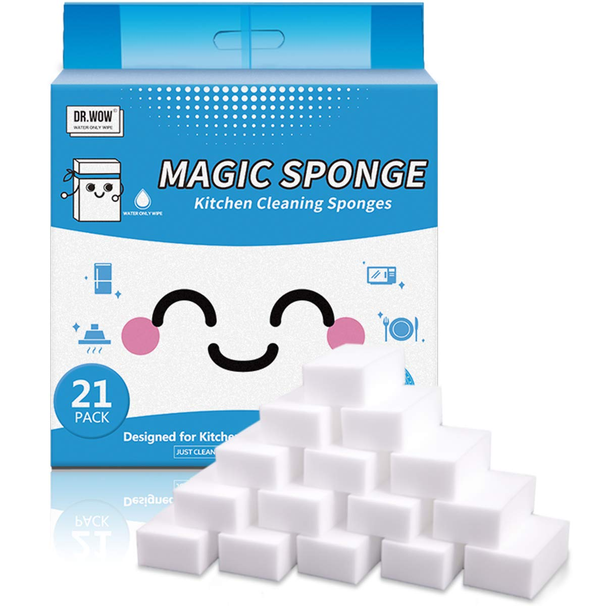 Dr.WOW 21 Pack Extra Thick Magic Sponge,Great Price Melamine Sponge - 2X Thicken 2X Long Lasting Cleaning,Eraser Sponge in Kitchen Air Fryers, Bathroom, Office Work Well