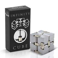 Fidget Cube Infinity Toy Gadget in Metal Aluminum for Kids, Teens, and Adults, Best Anxiety and Stress Relief Sensory Fidgeting Game for Boys and Girls, Ideal Gift Puzzle & Cool Office Decor for Men