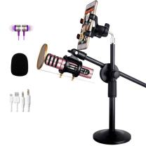 Insun Condenser Microphone with Stand Broadcasting Live Microphone Karaoke with Shock Mount Arm Stand Pink