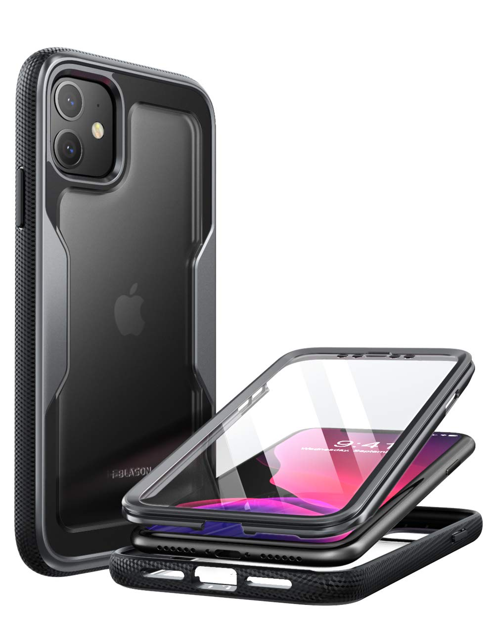 i-Blason Magma Case for iPhone 11 6.1 inch (2019 Release), Heavy Duty Protection, Full Body Bumper Protective Case with Built-in Screen Protector (Black)