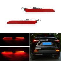 GTINTHEBOX (2) 3D Optic Red LED Rear Bumper Reflectors Brake Tail Light, Rear Fog Lighting Lamps Kit For Lexus RC NX IS-F or RX GX, etc