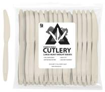 """ZenCo Biodegradable Compostable Disposable Cutlery - 100 Knives Large 7.5"""" Ivory - Heavy Duty Heat Resistant Eco Friendly Utensils for Office, Catering, Picnics or Birthdays (100 Count, Knives)"""