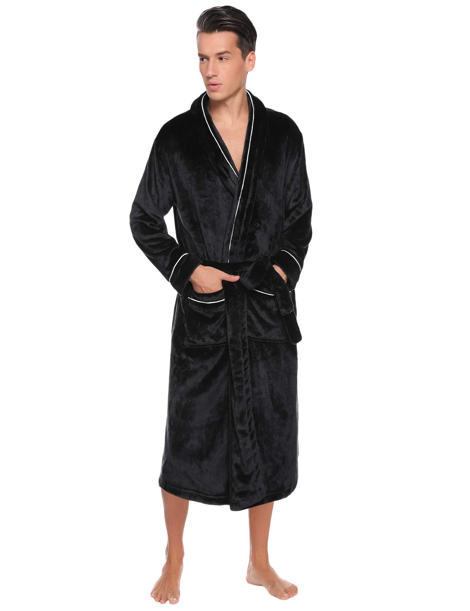 Hawiton Men's Hooded Robes - Long Plush Shawl Kimono Bathrobe Nightgown Spa Robe for Winter