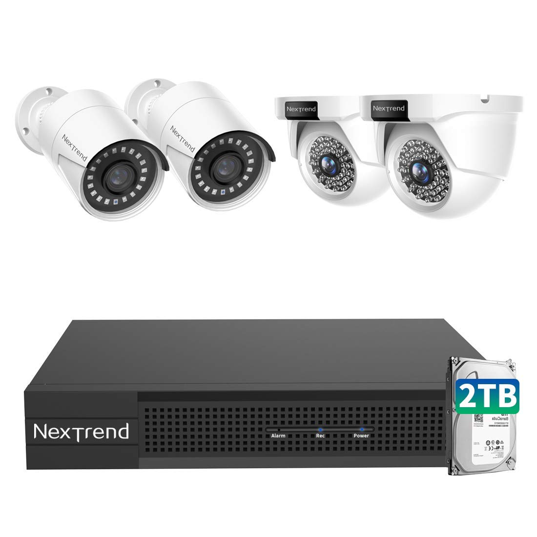 4MP 8ch POE Security Camera Systems, NexTrend 4 X Wired Outdoor Dome IP Cameras 1440P, 5MP/4MP Supported 8 Channel Home NVR Security System with Auto Night Vision Switch and Free App