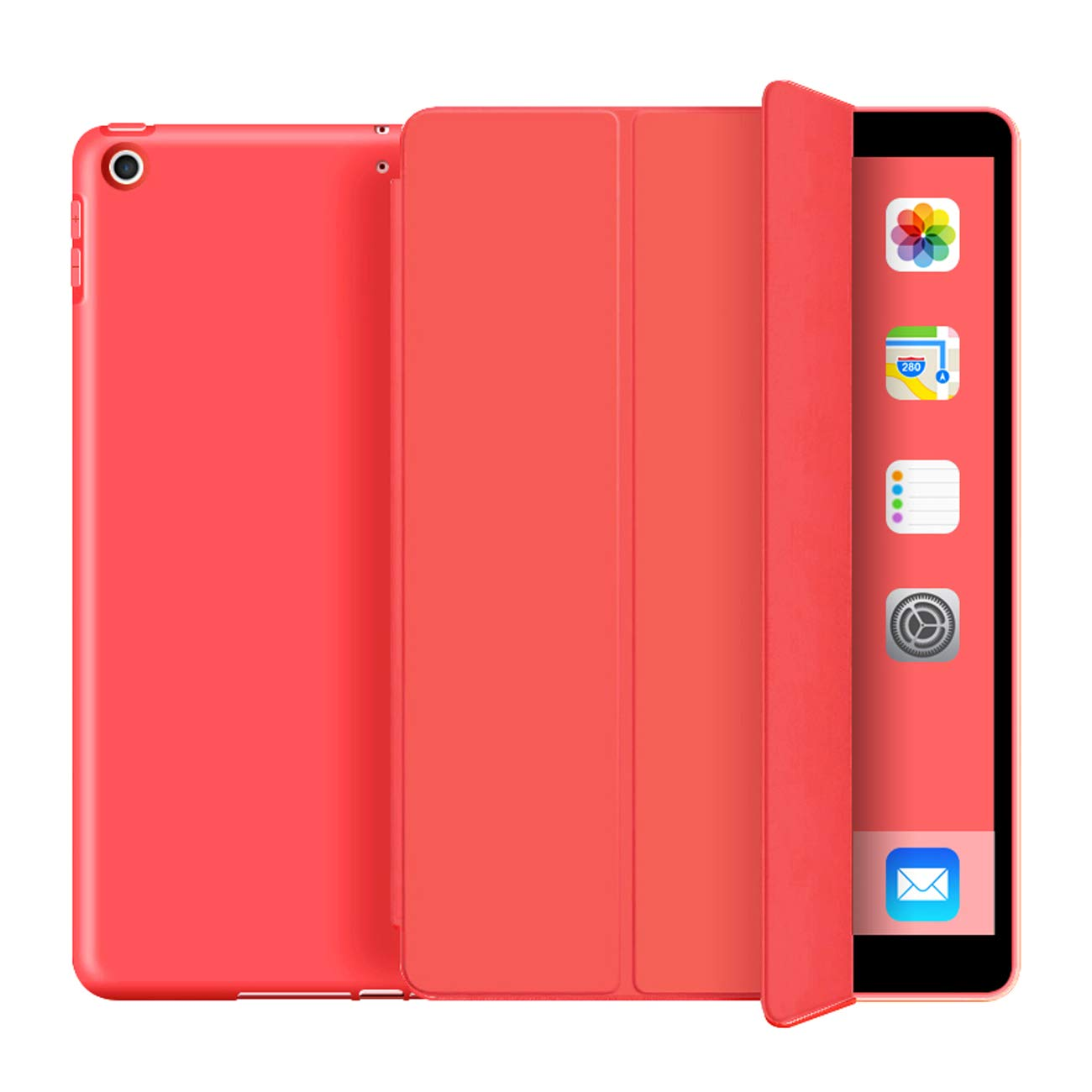 Kenke iPad Case 9.7 for 2017/2018,Ultra Slim Lightweight Smart Case TPU Soft Silicone Stand with Auto Sleep/Wake for iPad Cover 9.7 inch iPad 5th/6th Generation-Red