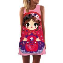 HTHJSCO Women's O-Neck Boho Sleeveless Beach Sundress Floral Printed Casual T-Shirt Short Mini Dress