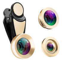 Cell Phone Camera Lens, TOP-MAX 0.45X Super Wide Angle & 12.5X Macro Phone Camera Lens 2 in 1 Clip-on Lens Kit for iPhone 8 7 6s 6 Plus 5s Samsung Android & Most Smartphones (3 in 1 Gold)
