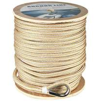 """Amarine Made Heavy Duty Double Braid Nylon Anchor Line with Stainless Steel Thimble-White/Gold (1/2"""" x 250')"""