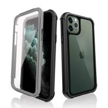 SHIWELY iPhone 11 Pro Case Full Body Rugged Bumper Case with Clear Built-in Anti-Scratch Screen Protector, Shockproof Impact Resistance Dustproof Cover Case for iPhone 11 Pro (Black + Gray)