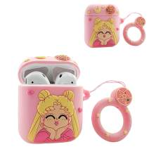MOLOVA Case for Airpods 1&2 Case,Silicone 3D Cute Funny Cool Cartoon Character Kawaii Airpods Cover Fashion Stylish Design Skin with Ring Rope Keychain for Kids Girls Teens Women Boys (Sailor Moon)