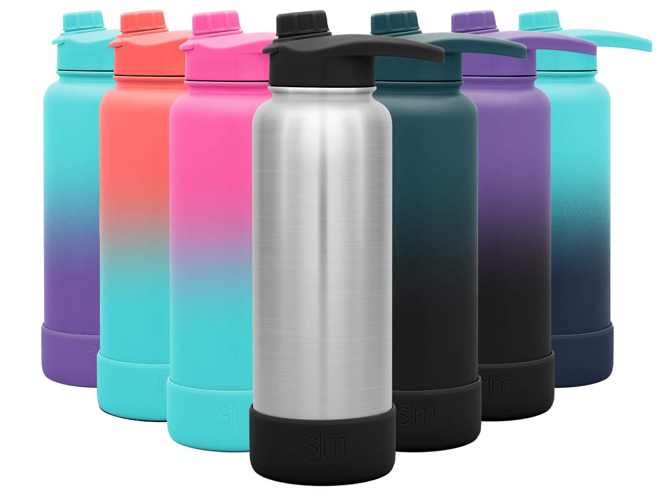 Simple Modern 40 Ounce Summit Water Bottle with Chug Lid & Protective Boot - Hydro Vacuum Insulated Flask 18/8 Stainless -Simple Stainless