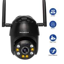 INQMEGA PTZ Camera Outdoor, 1080p Wireless Security IP Camera, Pan Tilt 4X Zoom, Two Way Audio, Color Night Vision, Waterproof Surveillance CCTV, Motion Detection Alarm, Support Max 128GB SD(Black)