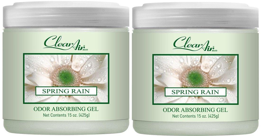 Clear Air Odor Absorber Gel - Odor Eliminator & Air Freshener - Made with Natural Essential Oils - 2 Pack (2 x 15 OZ) (Spring Rain)