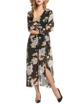 Zeagoo Women Floral Chiffon Deep V-Neck Long Sleeve Slit Wrap Long Maxi Beach Dress