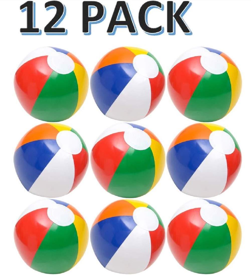 """CUZAIL Beach Balls - Party Favor Beach and Pool Fun - 12 Beach Balls 12"""" Each - Bulk Pack Bright Colorful for Party Fun Toys"""