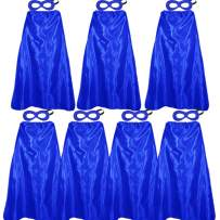 D.Q.Z Superhero Capes for Adults Bulk with Masks Dress Up Costume Party Supplies, 7 Pack