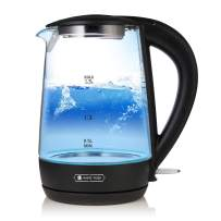 1.7L Electric Glass Kettle, WHITE TIGER Large Capacity with LED Light, Auto Shut-Off and Boil-Dry Protection, Stainless Steel Inner Lid & Bottom