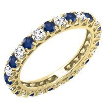 14K Gold White Diamond & Blue Sapphire Eternity Wedding Anniversary Stackable Ring Band